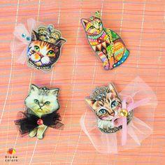 ネコ好き集まれっ! チュールやビジューがカワイイ、ネコブローチ。