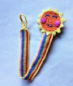 Sun and rainbow Pacifier clip / holder crochet by LittleYeya Crochet Bib, Crochet Earrings, Kids Hats, Children Hats, Binky, Pacifier Clips, Crochet Pacifier Holder, Bottle Cover, Diaper Covers