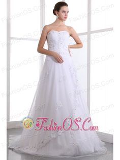 Classical A-line Strapless Beading Wedding Dress Brush Train Taffeta and Organza  http://www.facebook.com/quinceaneradress.fashionos.us  www.fashionos.com  This wedding dress is made from a lovely satin organza blend and features a lovely strapless bodice with intricately embroidered details. The floor-length skirt is light and airy, made from several layers of sheer fabric that create a beautiful silhouette when worn. Completes with an exquisite lace up back.