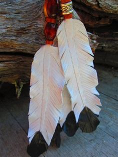 Hand-crafted, Leather, Feather, Christmas Ornament