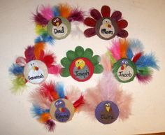 Turkey Kid Crafts  @Rachel Campbell - Cute, huh?  You could get the boas from the fabric market and take the feathers off to use as feathers on these.