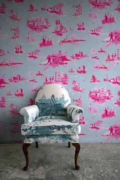 Timorous Beasties Wallcoverings - London Toile Brights