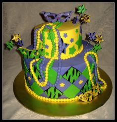 Mardi Gras Cake with zebra print details