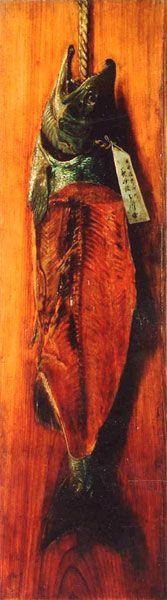 高橋由一 (1828-1894) 鮭図  1879-80年 油彩 板 幕末~明治 日本の近代絵画