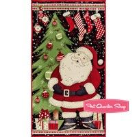 Jolly Christmas Multi Santa Door Quilt Panel SKU