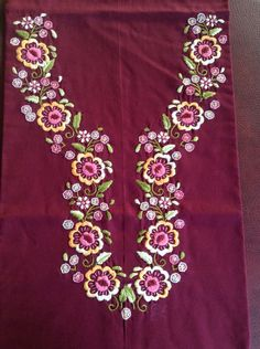 Hand work kurta by sonal Embroidery On Kurtis, Kurti Embroidery Design, Embroidery Neck Designs, Simple Embroidery, Hand Embroidery Stitches, Embroidery Fabric, Blouse Designs Silk, Dress Neck Designs, Churidar Neck Designs