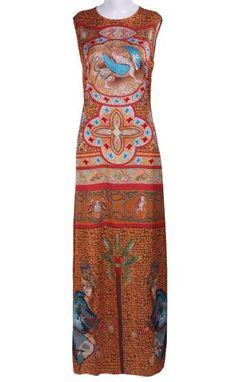 Yellow Sleeveless Retro Print Full-Length Dress #SheInside