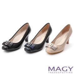 MAGY 通勤百搭 方頭織帶蝴蝶結鏡面牛皮高跟鞋-藍色 - Yahoo!奇摩購物中心