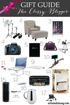 The Essential Gift Guide For The Classy Blogger. If you have a blogger friend or maybe you want to start a blog yourself... this equipment will help make your production value  exceed your viewers expectations. This will help you with your business and if you decide to partner up with companies. Learn more at www.artsandclassy.com #affiliate