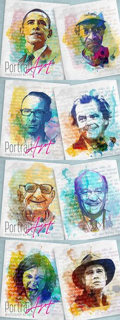 This awesome Photoshop action will help you to convert your portrait photos into creative abstract art. You can create endless compositions playing with watercolor splatters and color choices.