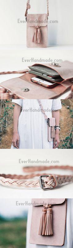 Handmade leather beige purse phone bag shoulder bag cossbody