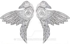 Celtic Ravens Tattoo Design by Tharivious