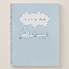 Blue Train of Thought Notebook - light gifts template style unique special diy