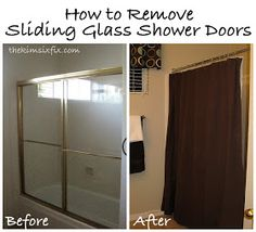 Tutorial: How to Remove Sliding Glass Shower Doors.. I HATE our shower, bathing J and seeing all the mold that's building up! Yuck!