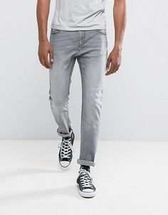 Bershka Skinny Jeans In Washed Gray