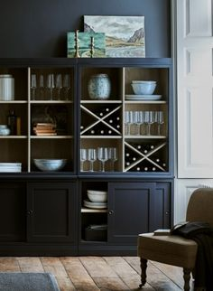 Chawton bookcase by Neptune Beach House Kitchens, Bookcase, Cabinetry Design, New Homes, Dark Blue Living Room, Dark Interiors, Dark Blue Bedrooms, Kitchen Bookcase, Lounge Design