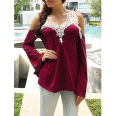 SHARE & Get it FREE | Cold Shoulder Color Block Lace Splicing T-ShirtFor Fashion Lovers only:80,000+ Items·FREE SHIPPING Join Dresslily: Get YOUR $50 NOW!