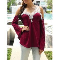 b15078567f1a99 Cold Shoulder Color Block Lace Splicing T-Shirt