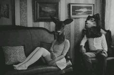 Animal masks, vintage photography