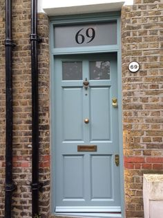 BATTERSEA |6 PANEL TOP LIGHT|HARDWOOD |BRASS|FARROW AND BALL - OVAL ROOM BLUE (EGGSHELL)|FROSTED LAMINATE|NEW DOOR & FRAME|V