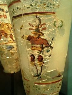 Greco-Roman gladiator on a glass vessel. Begram treasure. Personal photograph taken at the Musee Guimet, Paris.