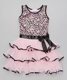 Loving this Popatu by Posh Pink Cheetah Sequin Tiered Dress - Toddler & Girls on #zulily! #zulilyfinds