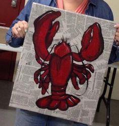 Crawfish newspaper canvas by PaintingBoutiquellc on Etsy Newspaper Canvas, Newspaper Painting, Bottle Painting, Diy Painting, Diy Canvas, Canvas Art, Lobster Art, Crab Art, Louisiana Art