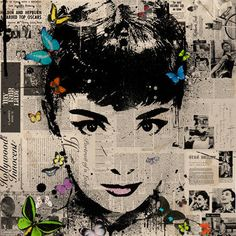 """Audrey Hepburn,"" original portrait print by artist THE HYBRID available at Saatchi Art #SaatchiArt"