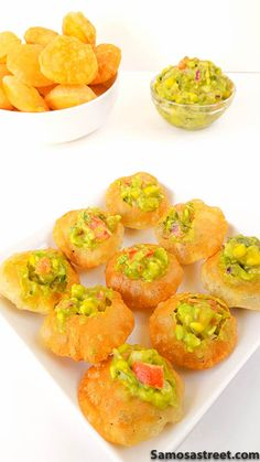 Mexican Golgappa anyone? One of a kind Indian-Mexican fusion snack with a flavorful Avocado Salsa stuffed inside a crispy puri.This is a great mexican indian fusion wedding appetizer idea! Indian Appetizers, Indian Snacks, Appetizers For Party, Appetizer Recipes, Mexican Food Recipes, Vegetarian Recipes, Snack Recipes, Appetizer Ideas, Indian Recipes