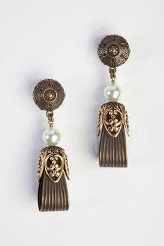 Jean Louis Blin Ribbon Earrings in Gold