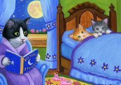 Tuxedo cat kittens bedtime stories moon original aceo painting art #Realism Bridget Voth (Artist). Ebay ID star-filled-sky