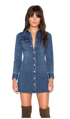 Bardot Chelsea Dress in Vintage Denim Fashion, Love Fashion, Womens Fashion, Jeans Dress, Shirt Dress, Blouse, Style Casual, Casual Outfits, Mode Jeans