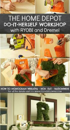 Register for the next #DIHWorkshop - How to Make a Monogram Wreath AND register to win a $100 The Home Depot Giveaway! #wreath #monogram