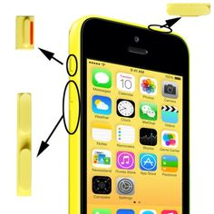 [USD0.46] [EUR0.44] [GBP0.34] 3 in 1 (Mute Button + Power Button + Volume Button) for iPhone 5C, Yellow