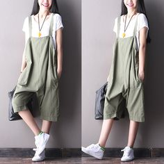 Green cotton linen women's clothes fashion summer overall trousers