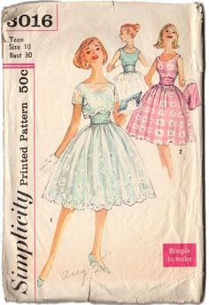 Vintage original 1950s Teen Party Dress with Jacket and sash. Simplicity Pattern 3016. This is a simple to make pattern. Dress has low round neckline, gathered skirt and sash. Jacket has set-in sleeve