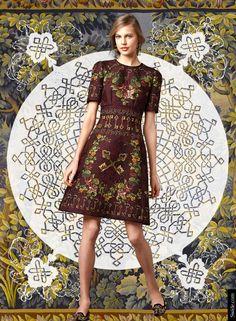 Dolce&Gabbana Fall Winter 2014-2015 Womenswear Collection: Flower and Keys Print Silk Brocade Dome Dress