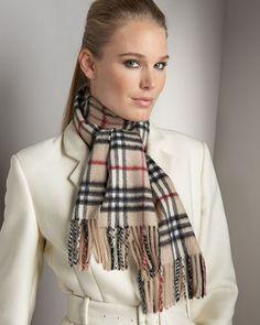 Camel Burberry Cashmere Check Women Scarves