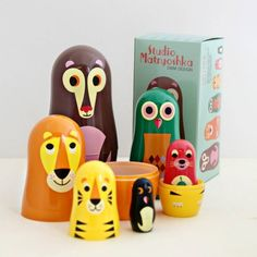 A simply adorable set of Scandi nesting dolls with animals!Pocket Matryoshka and Owl & Co. design also available.We love this modern take on the traditional Russian Babushka Dolls. Nesting dolls from Studio Matryoshka are made for art, design and toy lovers of all ages. Swedish in design, with a lovely retro feel to the colours and illustrations. Their wide eyes will have you hooked! A perfect gift for young and old. Not recommended for children under three.Plastic11.5 h x 5.5w x 5.5 d when…