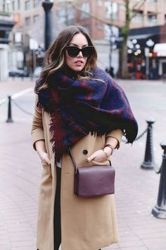 @aritzia blanket scarf, camel wool coat, cross-body bag and Céline sunglasses. #style #fashion #layers