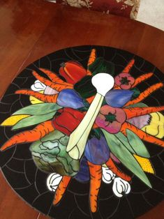 stained glass vegetable patterns | Vegetable Lazy Susan