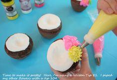 This is sooooo cute for a luau!!! Making 'coconut' cupcakes!