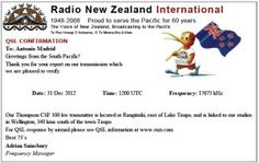 QSL Radio New Zeland