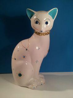 """Big Statue of cat """"Minou"""" in ceramic, decoration or collection by Laure Terrier  Hauteur: 12.20 pouces (31 centimètres)"""