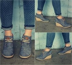 toms black chambray women's desert wedges - Google Search
