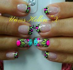 Uñas Neon Nail Art, Neon Nails, Self Nail, Magic Nails, Paws And Claws, Flower Nails, Christmas Design, Manicure, Nail Designs