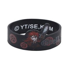 Black Butler Grell Chibi Die-Cut Rubber Bracelet Hot Topic ($7) ❤ liked on Polyvore featuring jewelry, bracelets, black jewelry, rubber bangles, rubber jewelry, kohl jewelry and black jet jewelry
