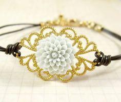 Leather Bracelet : Bohemian Charm, Sky