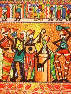 "Richard Cadet ""Troubadours"" Oil on Canvas"