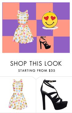 """Emoji bag"" by jordanbond55 ❤ liked on Polyvore featuring GUESS, women's clothing, women, female, woman, misses and juniors"